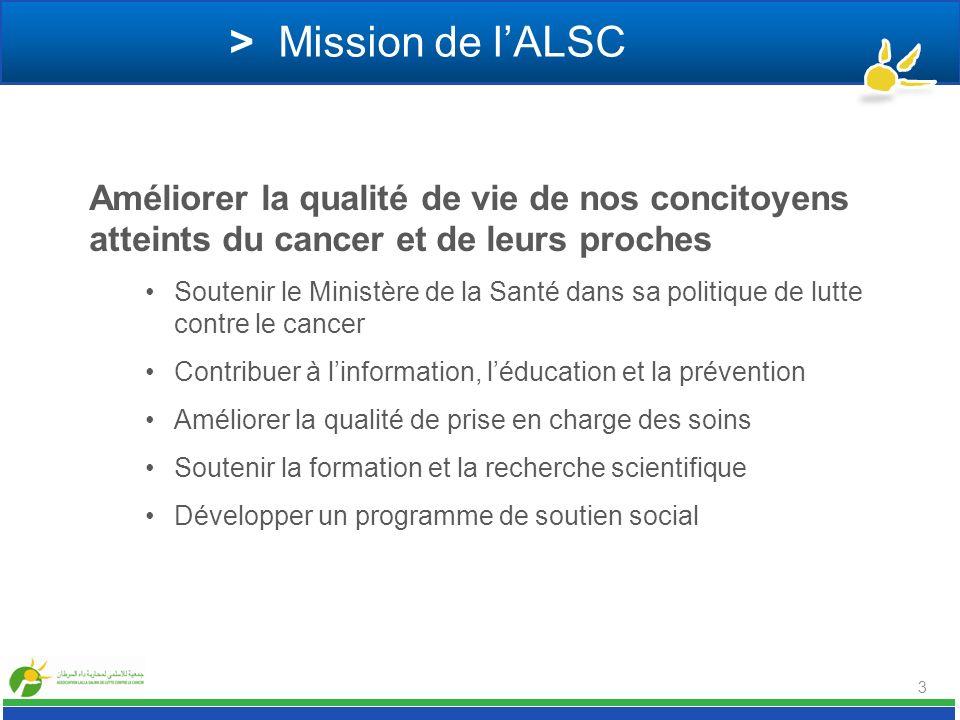 > Mission de lALSC Améliorer la qualité de vie de nos concitoyens atteints du cancer et de leurs proches Soutenir le Ministère de la Santé dans sa pol