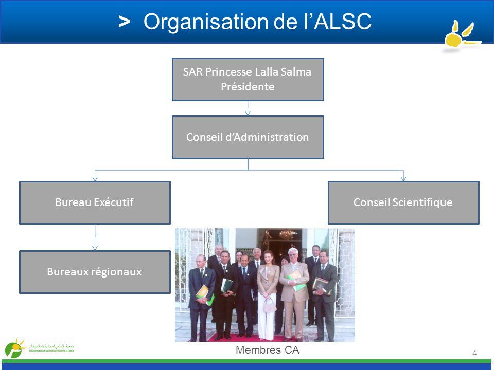 > Organisation de lALSC SAR Princesse Lalla Salma Présidente Conseil ScientifiqueBureau Exécutif Conseil dAdministration Bureaux régionaux Membres CA