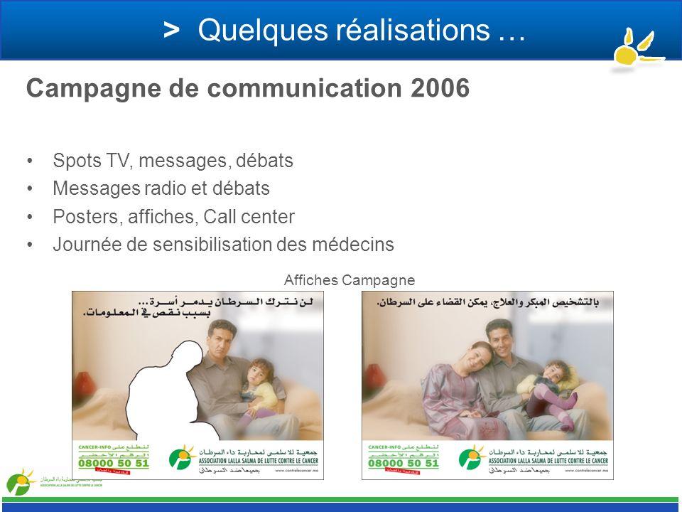> Quelques réalisations … Campagne de communication 2006 Spots TV, messages, débats Messages radio et débats Posters, affiches, Call center Journée de