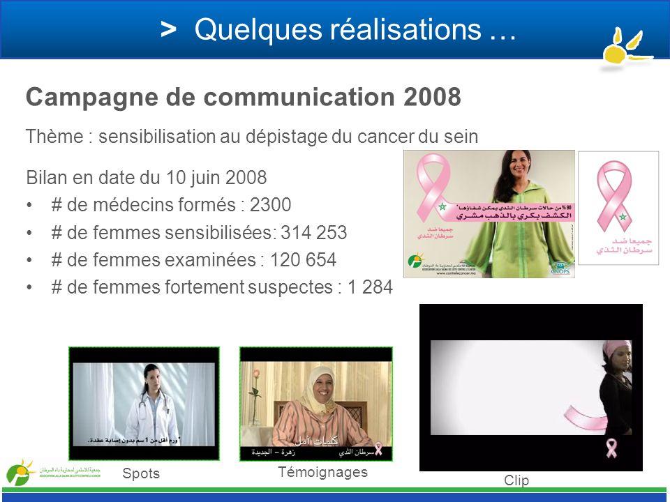 > Quelques réalisations … Thème : sensibilisation au dépistage du cancer du sein Campagne de communication 2008 Bilan en date du 10 juin 2008 # de méd