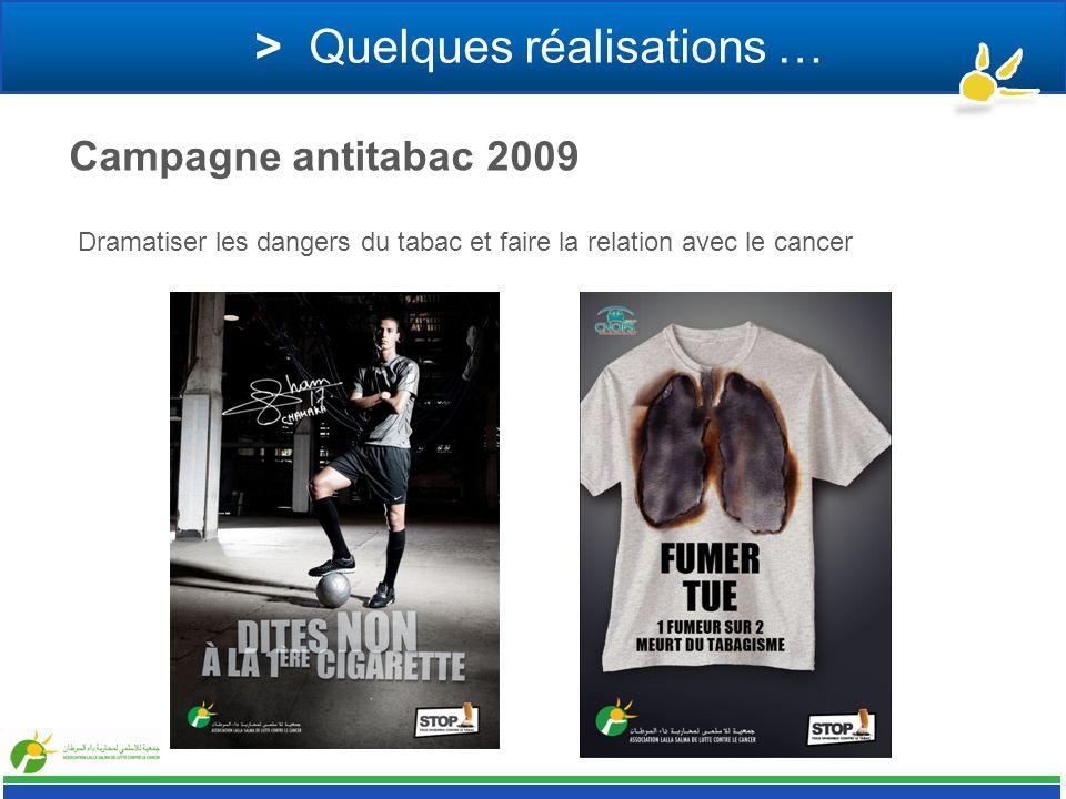 > Quelques réalisations … Campagne antitabac 2009 Dramatiser les dangers du tabac et faire la relation avec le cancer