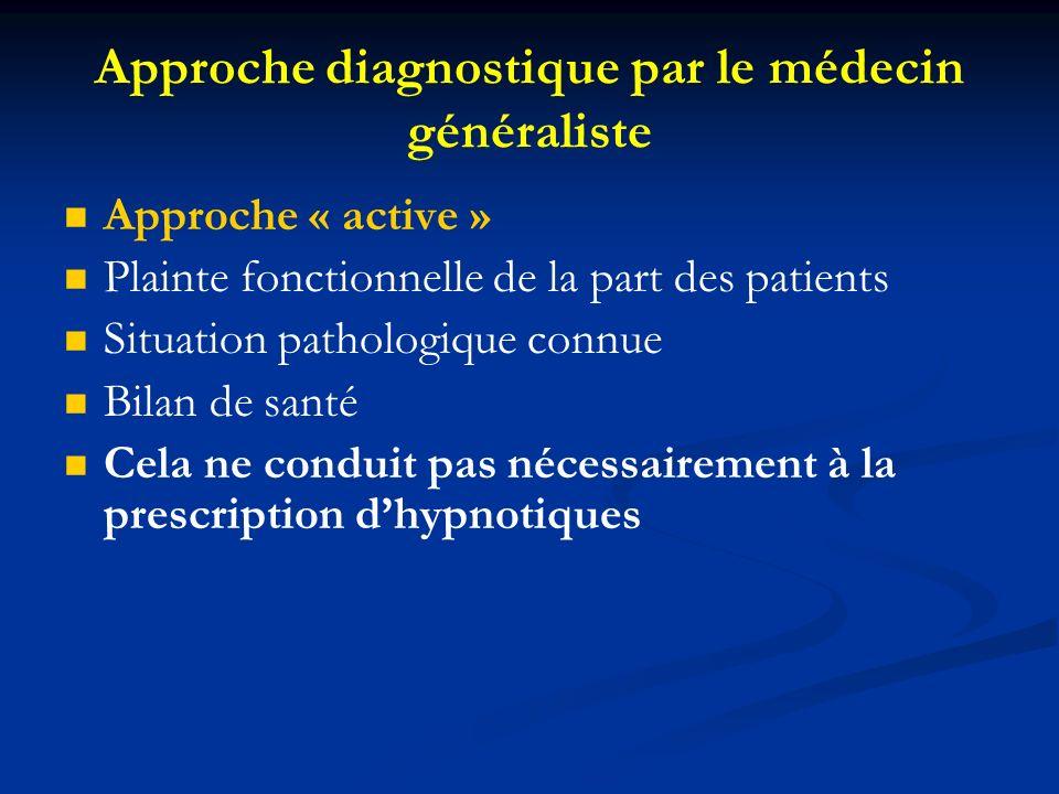 Approche diagnostique par le médecin généraliste Approche « active » Plainte fonctionnelle de la part des patients Situation pathologique connue Bilan