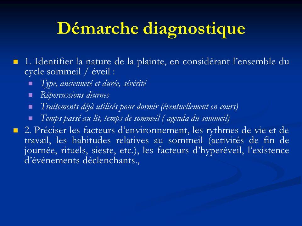 Démarche diagnostique 1. Identifier la nature de la plainte, en considérant lensemble du cycle sommeil / éveil : Type, ancienneté et durée, sévérité R