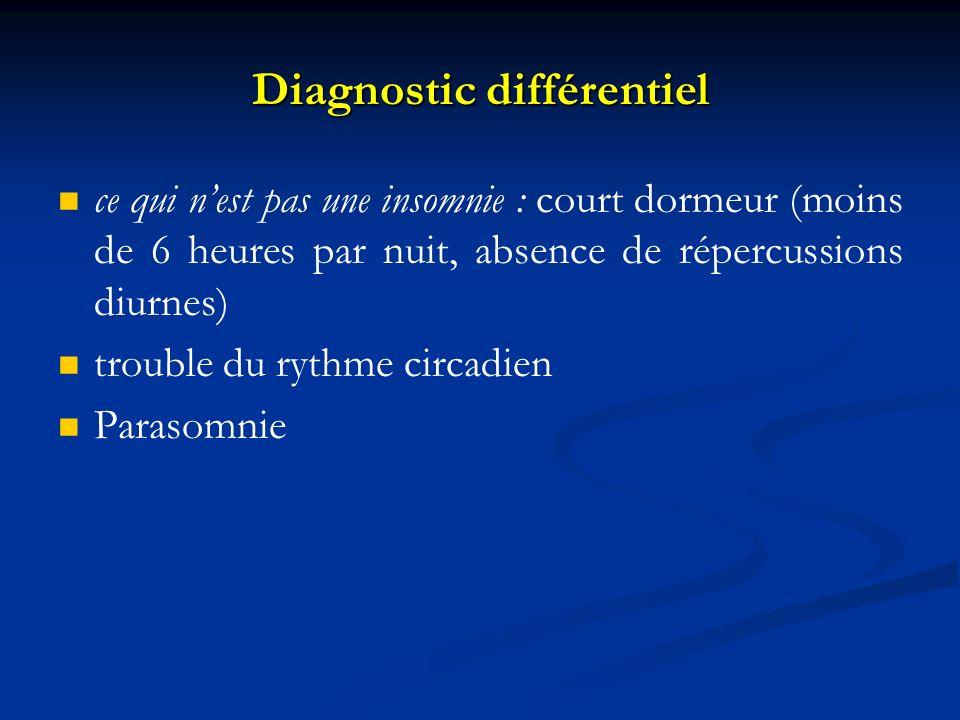 Diagnostic différentiel ce qui nest pas une insomnie : court dormeur (moins de 6 heures par nuit, absence de répercussions diurnes) trouble du rythme