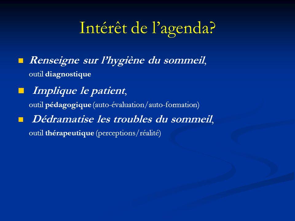 Intérêt de lagenda? Renseigne sur lhygiène du sommeil, outil diagnostique Implique le patient, outil pédagogique (auto-évaluation/auto-formation) Dédr