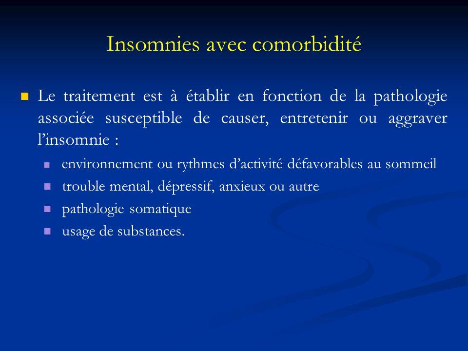Insomnies avec comorbidité Le traitement est à établir en fonction de la pathologie associée susceptible de causer, entretenir ou aggraver linsomnie :