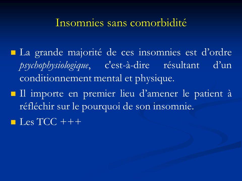 Insomnies sans comorbidité La grande majorité de ces insomnies est dordre psychophysiologique, c'est-à-dire résultant dun conditionnement mental et ph