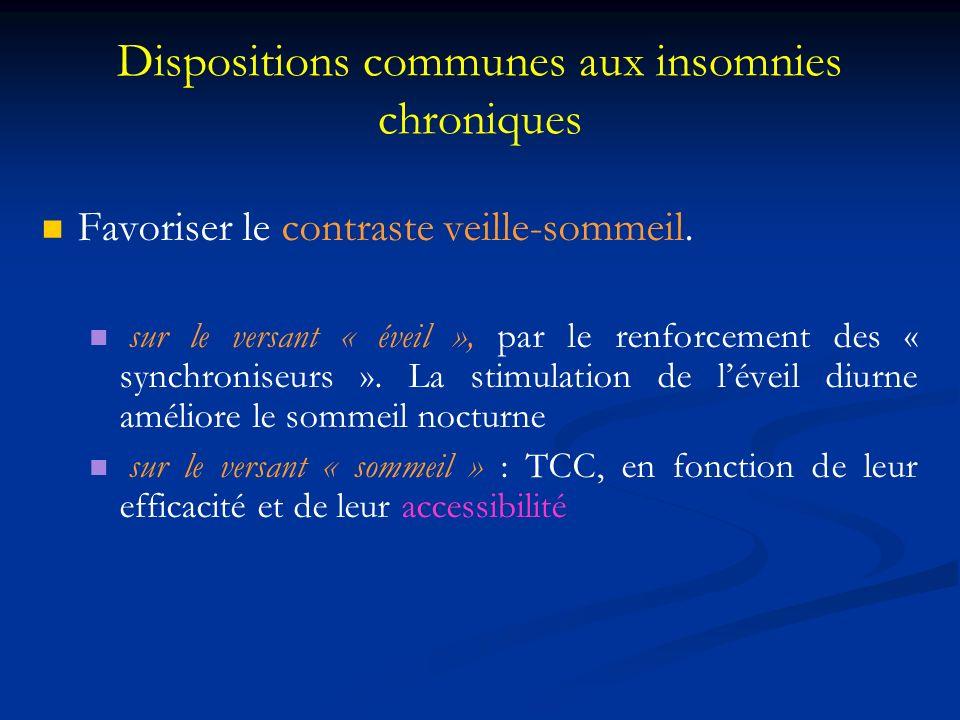 Dispositions communes aux insomnies chroniques Favoriser le contraste veille-sommeil. sur le versant « éveil », par le renforcement des « synchroniseu