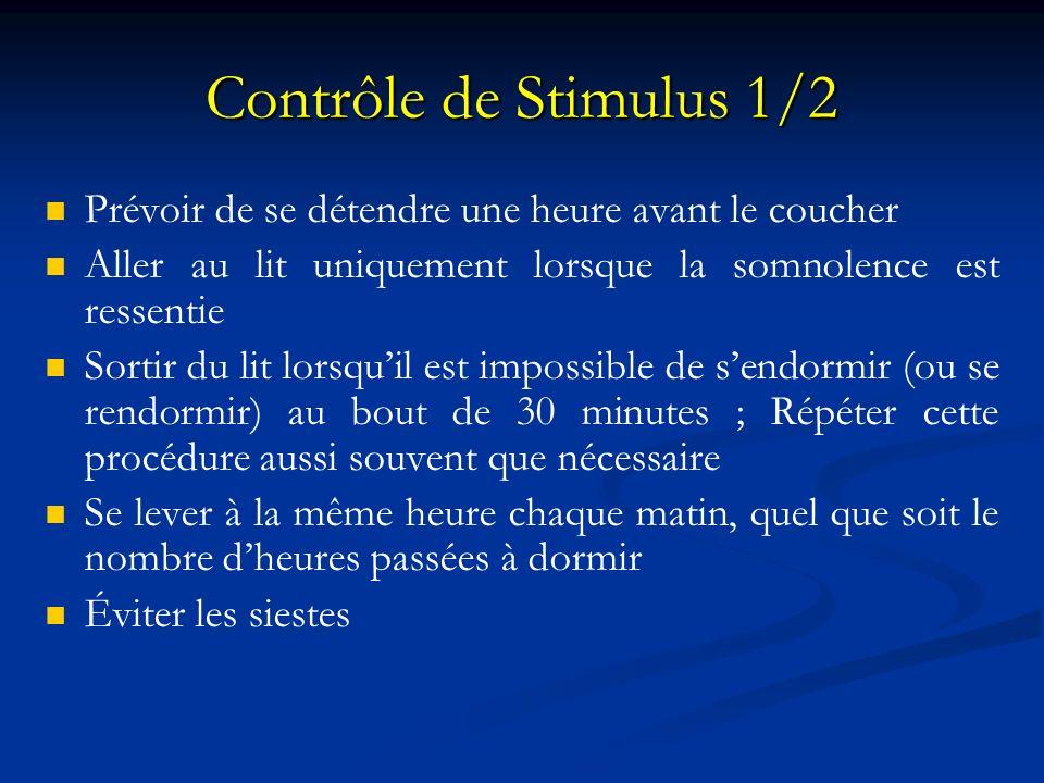 Contrôle de Stimulus 1/2 Prévoir de se détendre une heure avant le coucher Aller au lit uniquement lorsque la somnolence est ressentie Sortir du lit l