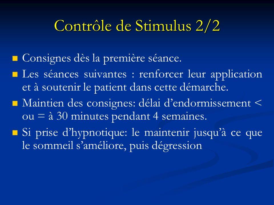 Contrôle de Stimulus 2/2 Consignes dès la première séance. Les séances suivantes : renforcer leur application et à soutenir le patient dans cette déma