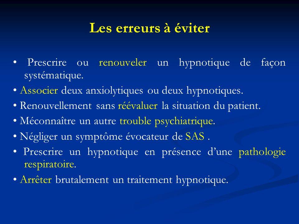 Les erreurs à éviter Prescrire ou renouveler un hypnotique de façon systématique. Associer deux anxiolytiques ou deux hypnotiques. Renouvellement sans