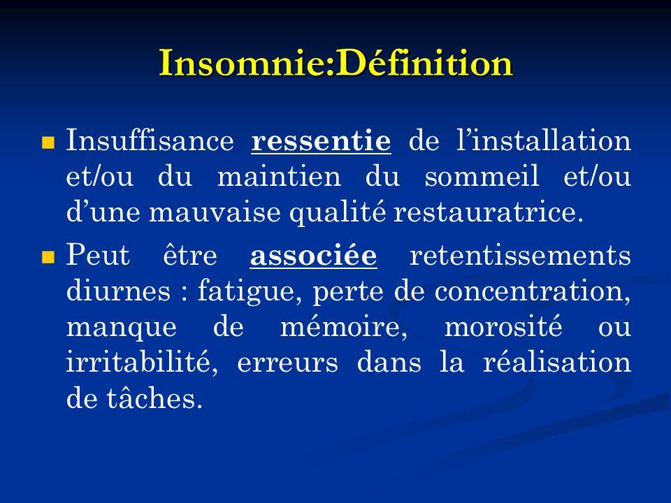 Insomnie:Définition Insuffisance ressentie de linstallation et/ou du maintien du sommeil et/ou dune mauvaise qualité restauratrice. Peut être associée