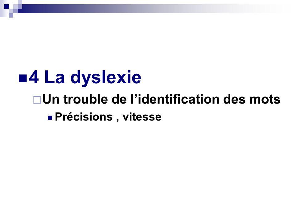 4 La dyslexie Un trouble de lidentification des mots Précisions, vitesse
