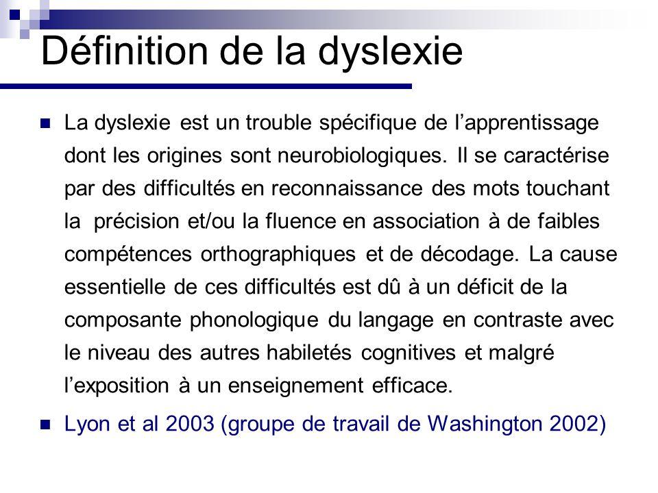 Définition de la dyslexie La dyslexie est un trouble spécifique de lapprentissage dont les origines sont neurobiologiques.