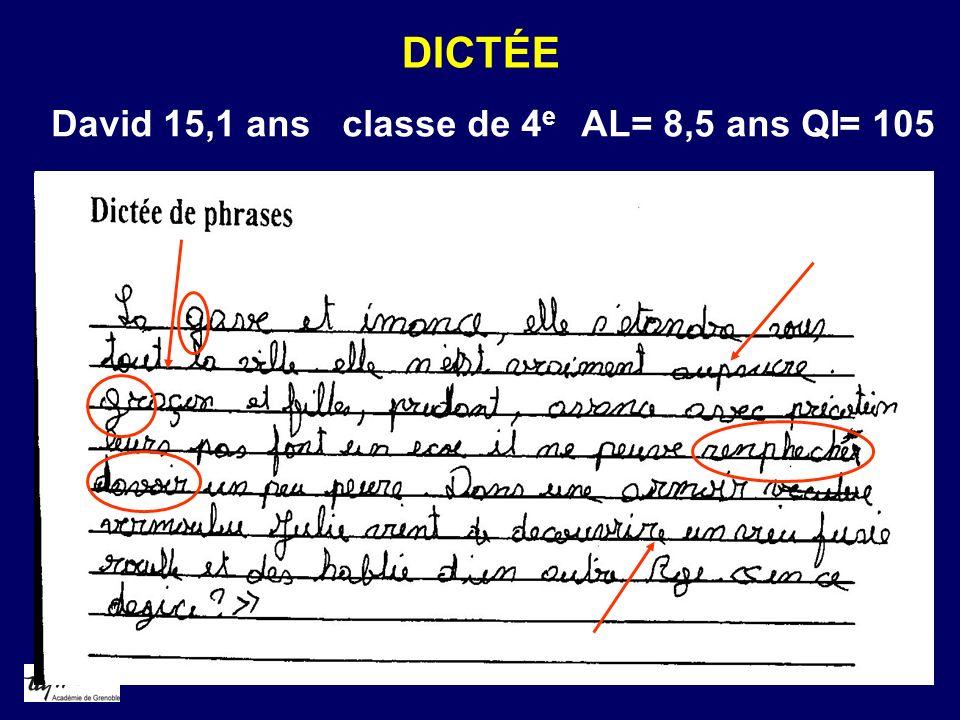 DICTÉE David 15,1 ans classe de 4 e AL= 8,5 ans QI= 105