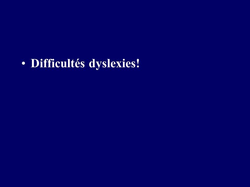 Difficultés dyslexies!