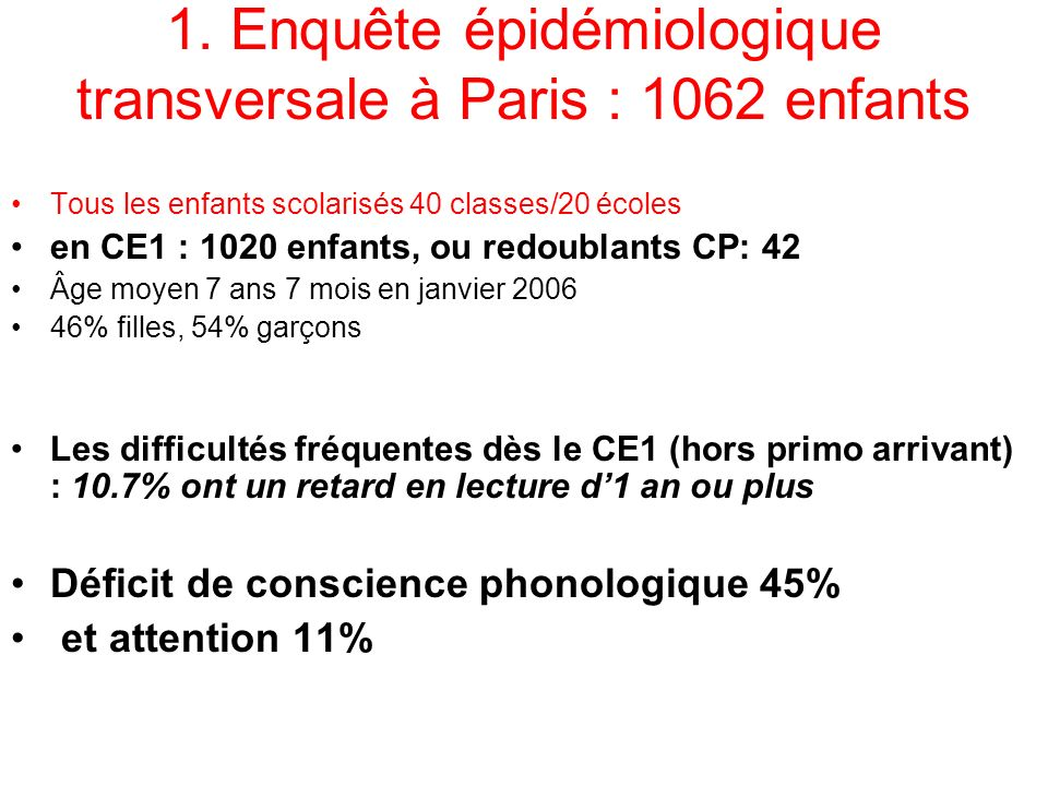 1. Enquête épidémiologique transversale à Paris : 1062 enfants Tous les enfants scolarisés 40 classes/20 écoles en CE1 : 1020 enfants, ou redoublants