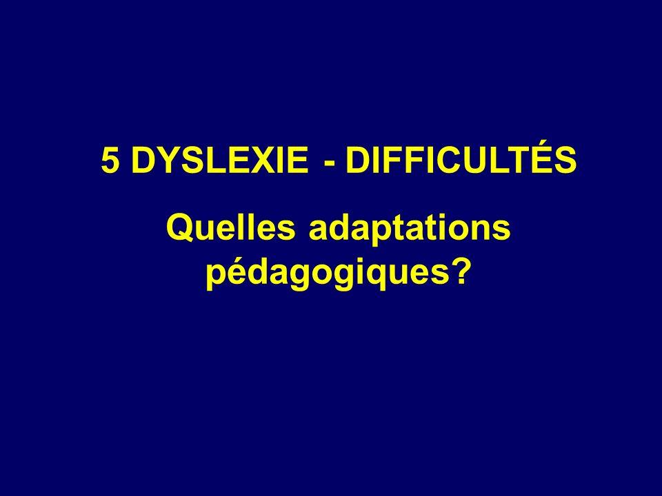 5 DYSLEXIE - DIFFICULTÉS Quelles adaptations pédagogiques