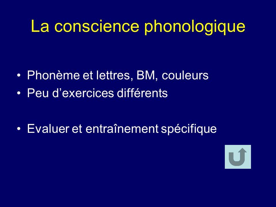 La conscience phonologique Phonème et lettres, BM, couleurs Peu dexercices différents Evaluer et entraînement spécifique