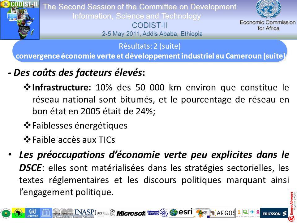 - Des coûts des facteurs élevés: Infrastructure: 10% des 50 000 km environ que constitue le réseau national sont bitumés, et le pourcentage de réseau