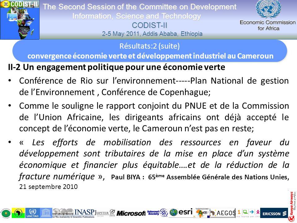 II-2 Un engagement politique pour une économie verte Conférence de Rio sur lenvironnement-----Plan National de gestion de lEnvironnement, Conférence d