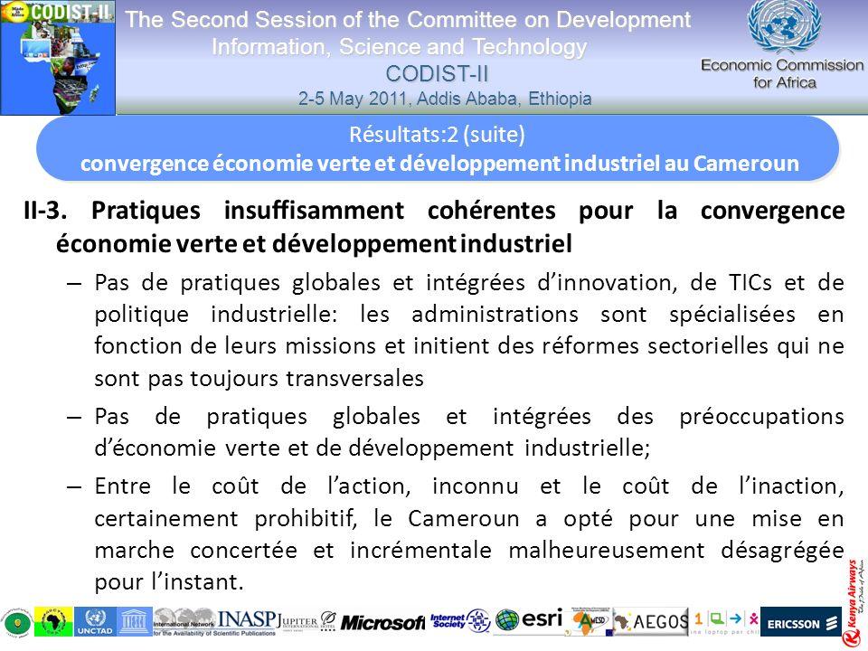 II-3. Pratiques insuffisamment cohérentes pour la convergence économie verte et développement industriel – Pas de pratiques globales et intégrées dinn