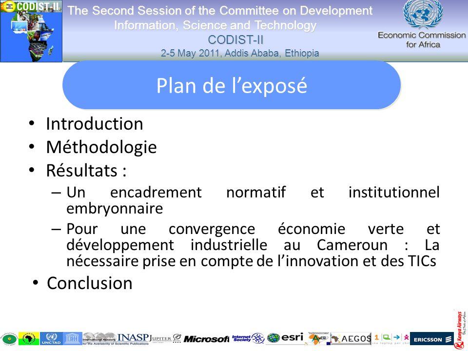 II-2 Un engagement politique pour une économie verte Conférence de Rio sur lenvironnement-----Plan National de gestion de lEnvironnement, Conférence de Copenhague; Comme le souligne le rapport conjoint du PNUE et de la Commission de lUnion Africaine, les dirigeants africains ont déjà accepté le concept de léconomie verte, le Cameroun nest pas en reste; « Les efforts de mobilisation des ressources en faveur du développement sont tributaires de la mise en place dun système économique et financier plus équitable….et de la réduction de la fracture numérique », Paul BIYA : 65 ème Assemblée Générale des Nations Unies, 21 septembre 2010 The Second Session of the Committee on Development Information, Science and Technology CODIST-II 2-5 May 2011, Addis Ababa, Ethiopia The Second Session of the Committee on Development Information, Science and Technology CODIST-II 2-5 May 2011, Addis Ababa, Ethiopia Résultats:2 (suite) convergence économie verte et développement industriel au Cameroun Résultats:2 (suite) convergence économie verte et développement industriel au Cameroun