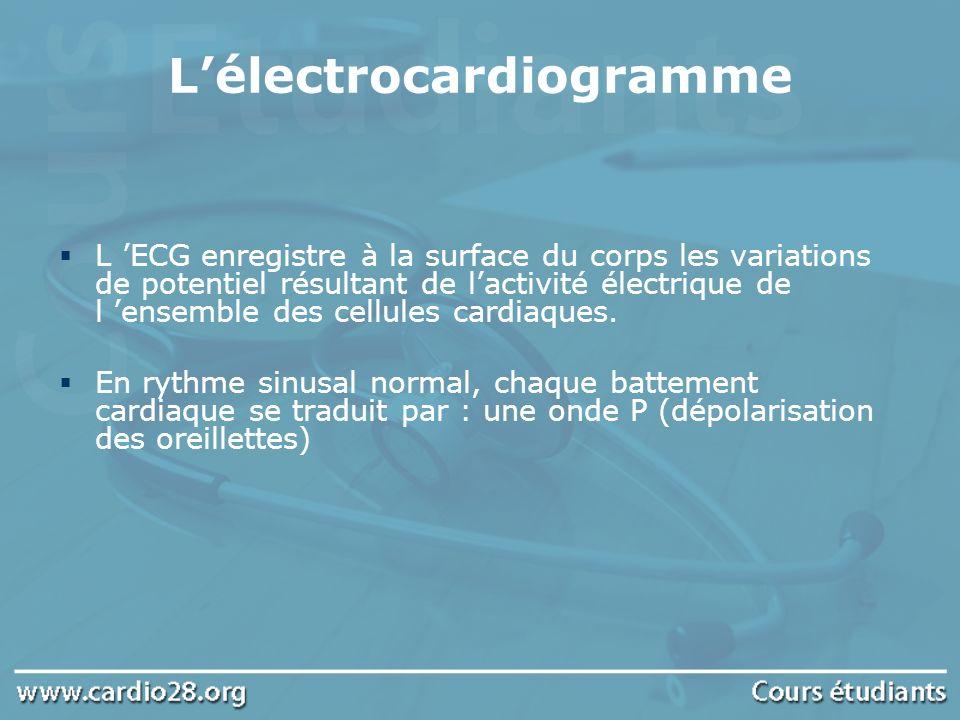 Les troubles du rythme Intervalle PR temps de conduction auriculo-ventriculaire compris entre 0,12 et 0,20s Complexes QRS dépolarisation des ventricules Segment ST et onde T repolarisation ventriculaire La fréquence cardiaque se situe autour de 70-80/min au repos