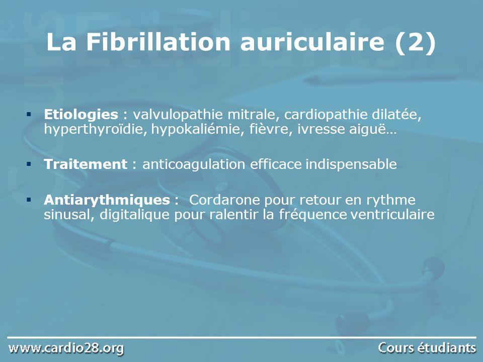 La Fibrillation auriculaire (2) Etiologies : valvulopathie mitrale, cardiopathie dilatée, hyperthyroïdie, hypokaliémie, fièvre, ivresse aiguë… Traitem