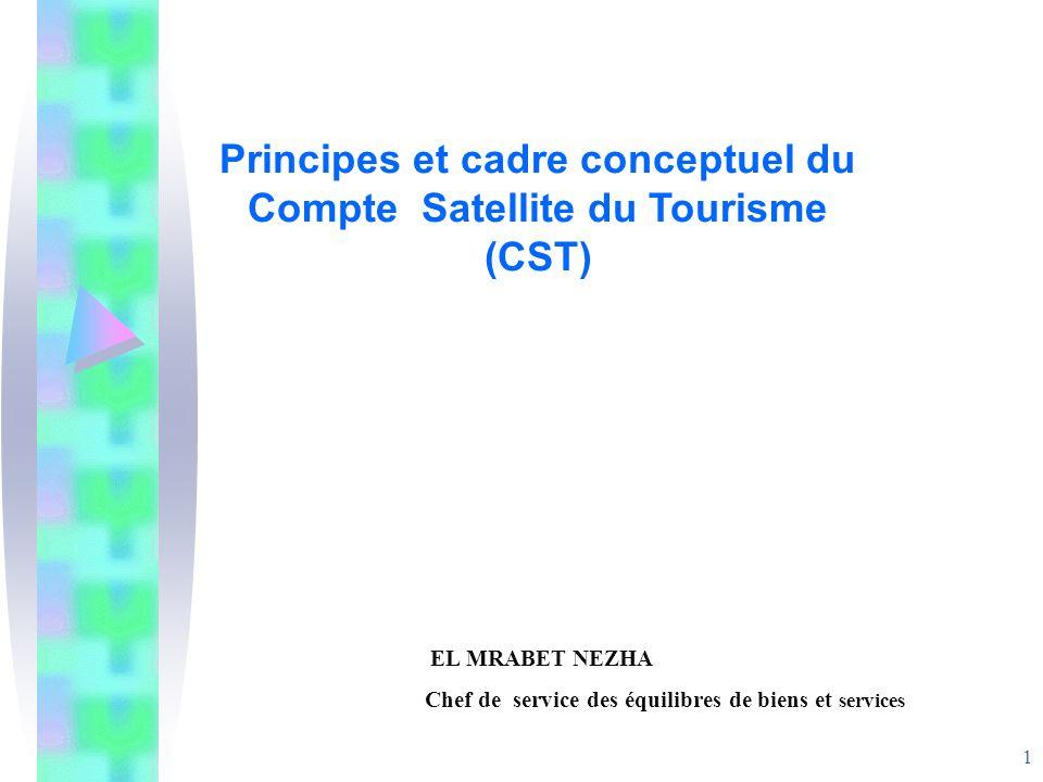 1 Principes et cadre conceptuel du Compte Satellite du Tourisme (CST) EL MRABET NEZHA Chef de service des équilibres de biens et services