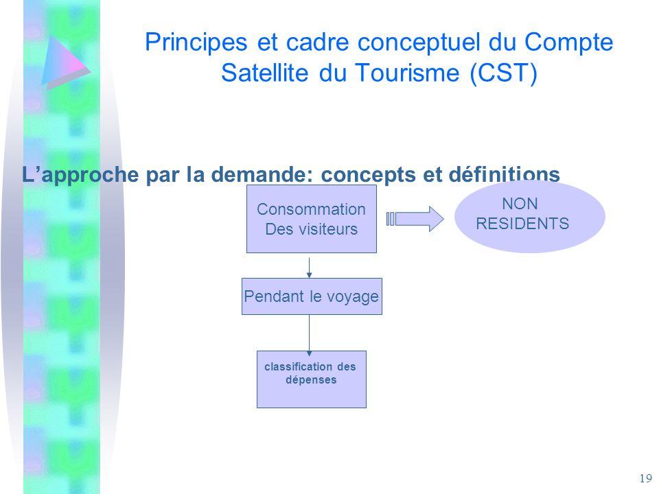 19 Principes et cadre conceptuel du Compte Satellite du Tourisme (CST) Lapproche par la demande: concepts et définitions Consommation Des visiteurs Pe