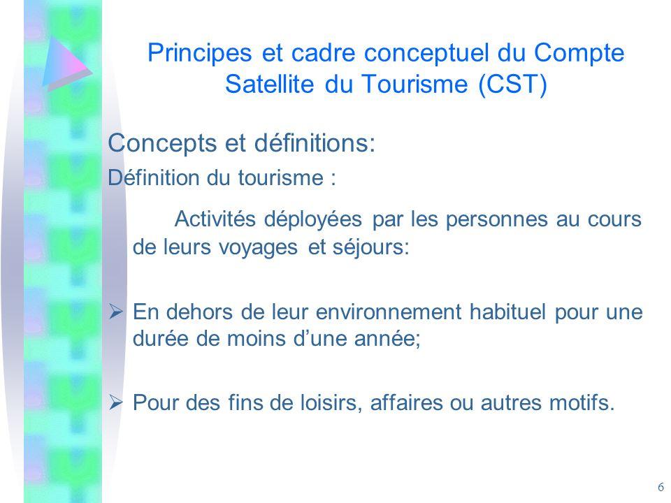 6 Principes et cadre conceptuel du Compte Satellite du Tourisme (CST) Concepts et définitions: Définition du tourisme : Activités déployées par les pe