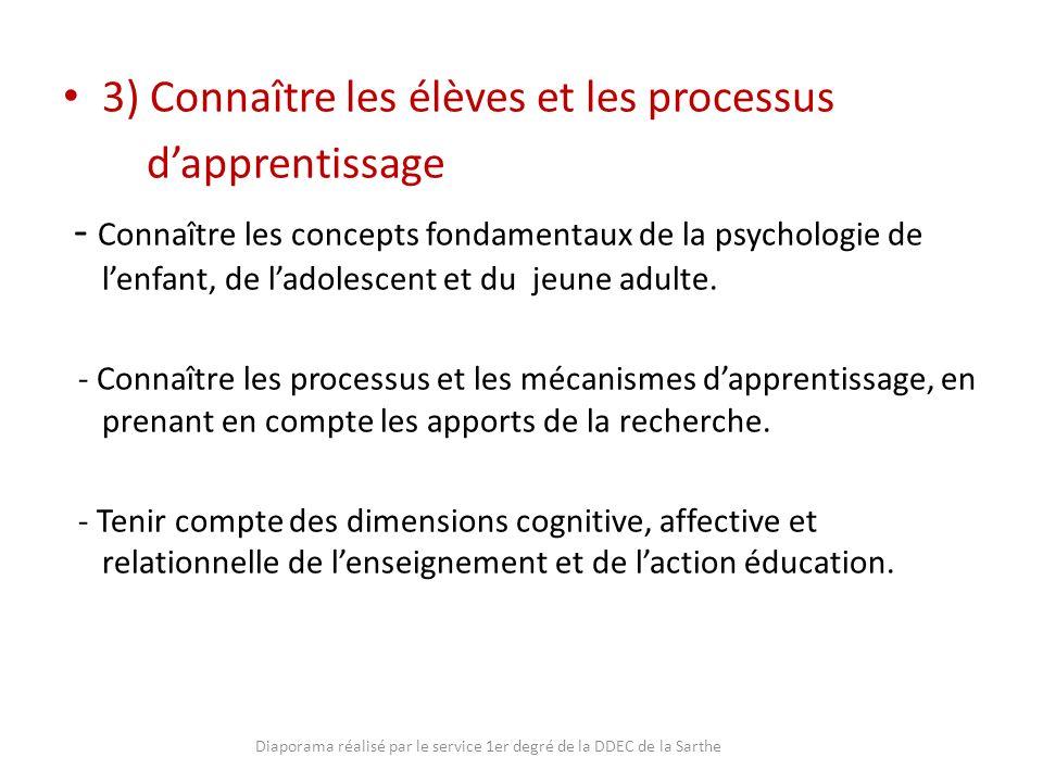 3) Connaître les élèves et les processus dapprentissage - Connaître les concepts fondamentaux de la psychologie de lenfant, de ladolescent et du jeune