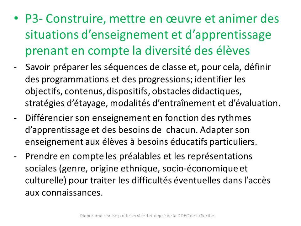 P3- Construire, mettre en œuvre et animer des situations denseignement et dapprentissage prenant en compte la diversité des élèves - Savoir préparer l