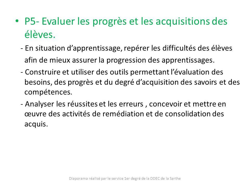 P5- Evaluer les progrès et les acquisitions des élèves. - En situation dapprentissage, repérer les difficultés des élèves afin de mieux assurer la pro