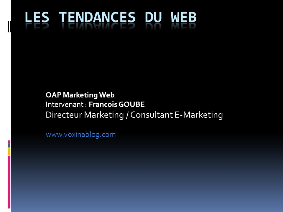 OAP Marketing Web Intervenant : Francois GOUBE Directeur Marketing / Consultant E-Marketing www.voxinablog.com