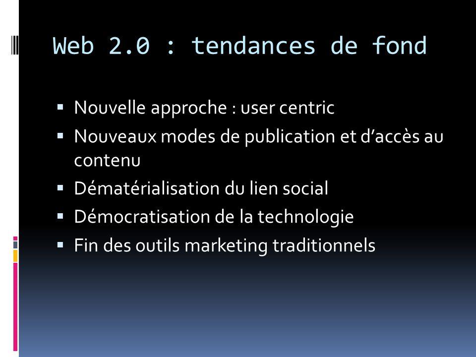 Web 2.0 : tendances de fond Nouvelle approche : user centric Nouveaux modes de publication et daccès au contenu Dématérialisation du lien social Démoc