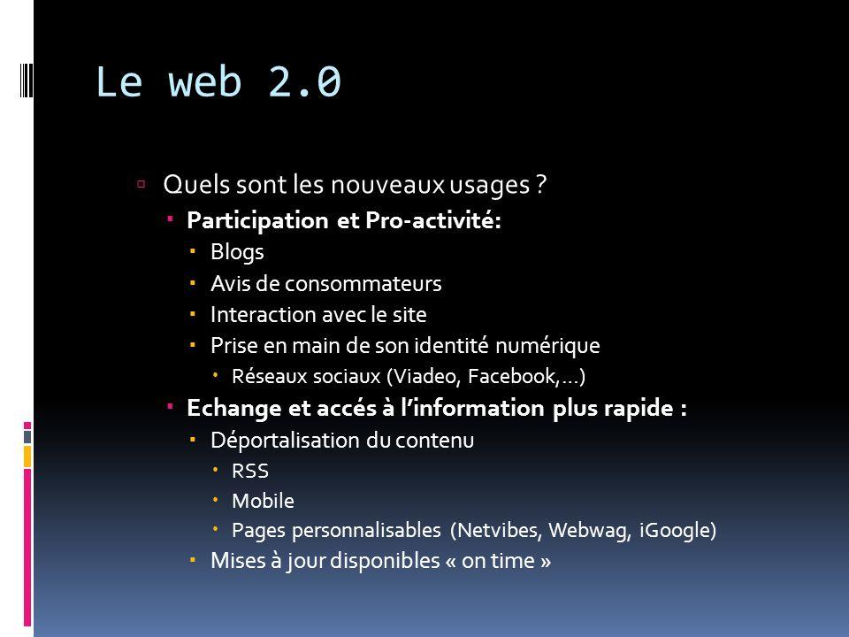 Le web 2.0 Quels sont les nouveaux usages ? Participation et Pro-activité: Blogs Avis de consommateurs Interaction avec le site Prise en main de son i