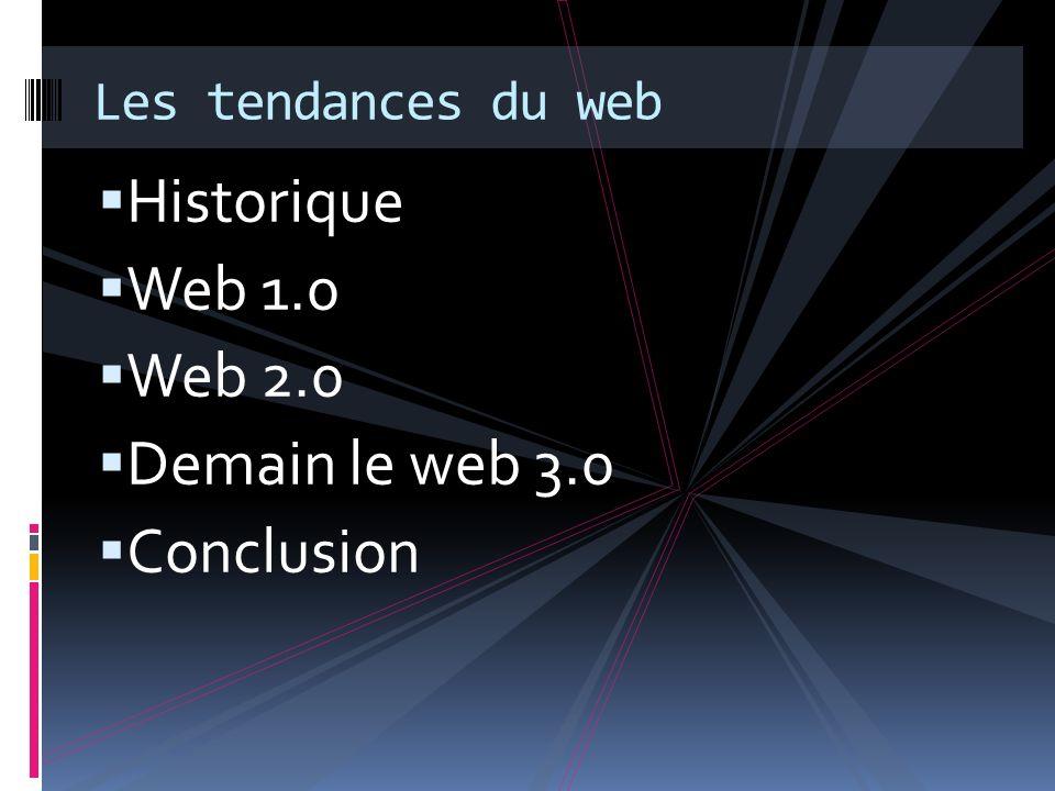 Le web 1.0 Les composants du web 1.0 Course au contenu Centralisation de linformation Course à laccès à linformation Les individus sont connectés individuellement à leurs sites favoris Démocratisation de lemail