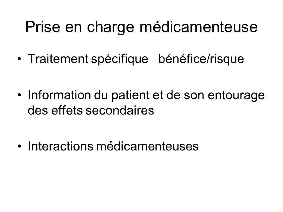 Prise en charge médicamenteuse Traitement spécifique bénéfice/risque Information du patient et de son entourage des effets secondaires Interactions mé