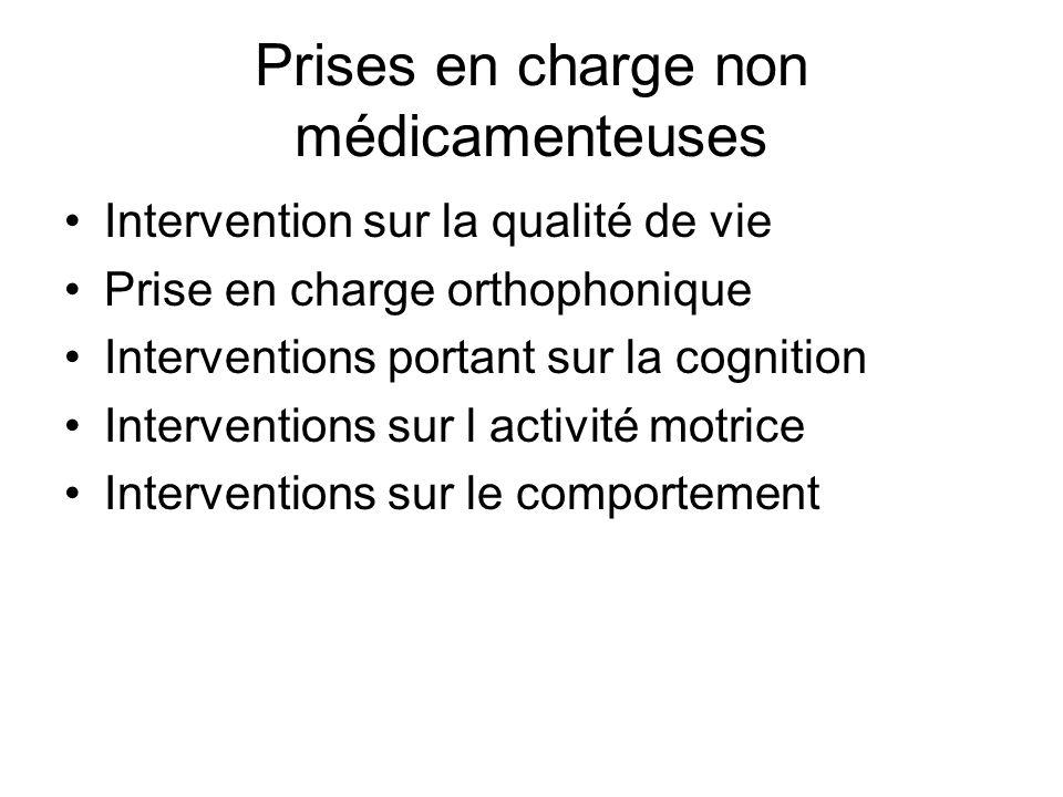 Prises en charge non médicamenteuses Intervention sur la qualité de vie Prise en charge orthophonique Interventions portant sur la cognition Intervent
