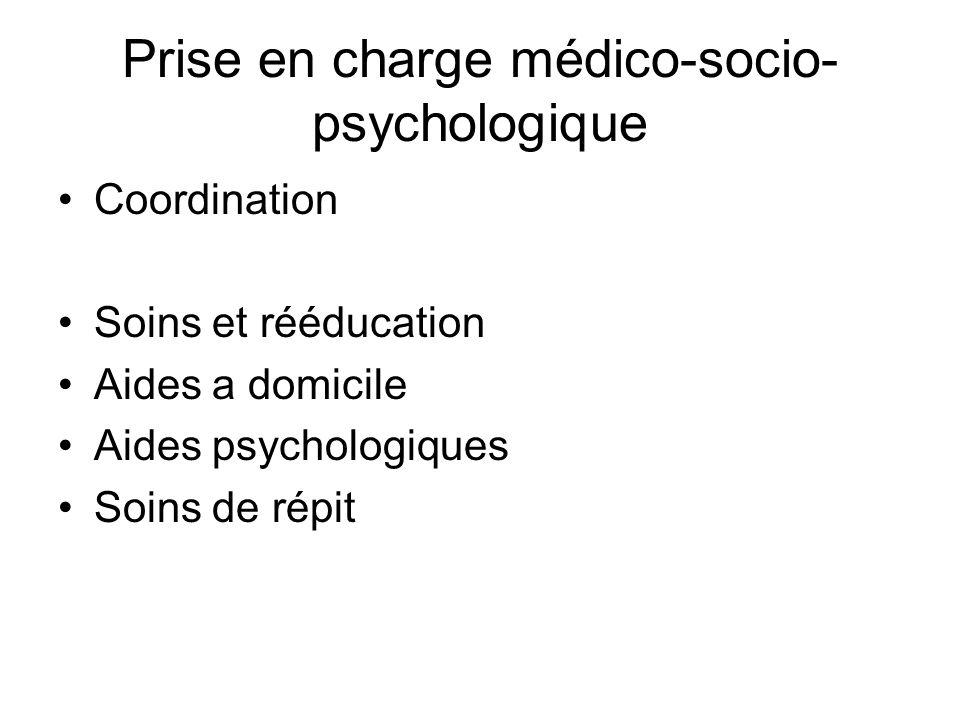 Prise en charge médico-socio- psychologique Coordination Soins et rééducation Aides a domicile Aides psychologiques Soins de répit