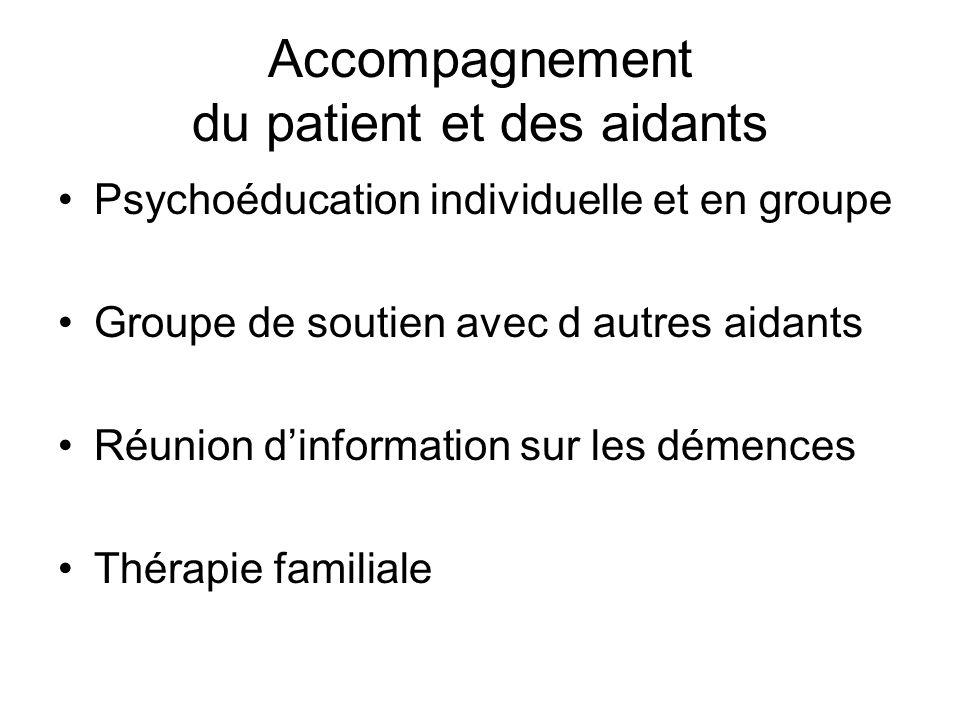 Accompagnement du patient et des aidants Psychoéducation individuelle et en groupe Groupe de soutien avec d autres aidants Réunion dinformation sur le