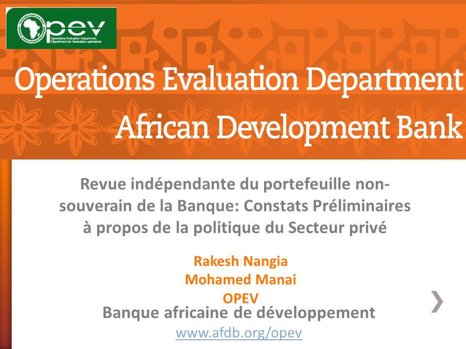Revue indépendante du portefeuille non- souverain de la Banque: Constats Préliminaires à propos de la politique du Secteur privé Banque africaine de d