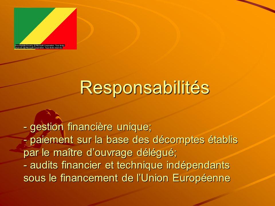 Responsabilités - gestion financière unique; - paiement sur la base des décomptes établis par le maître douvrage délégué; - audits financier et techni