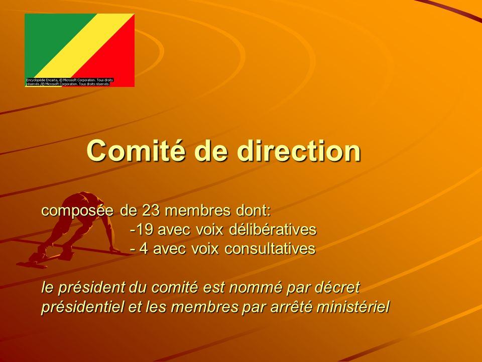 Comité de direction composée de 23 membres dont: -19 avec voix délibératives - 4 avec voix consultatives le président du comité est nommé par décret p