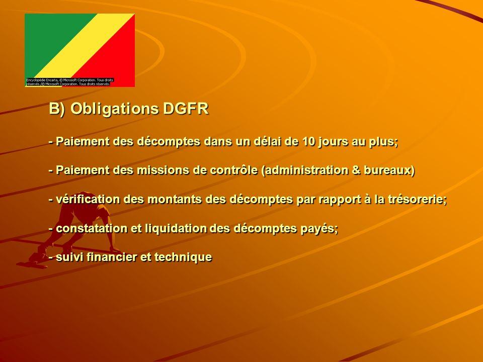 B) Obligations DGFR - Paiement des décomptes dans un délai de 10 jours au plus; - Paiement des missions de contrôle (administration & bureaux) - vérif