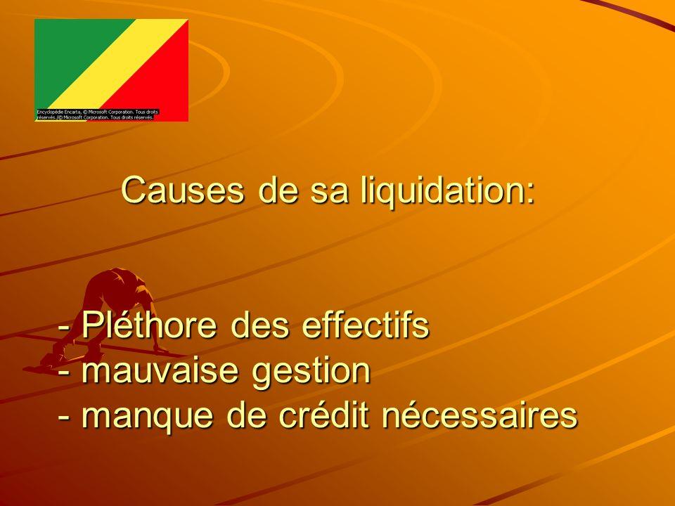 Causes de sa liquidation: - Pléthore des effectifs - mauvaise gestion - manque de crédit nécessaires Causes de sa liquidation: - Pléthore des effectif