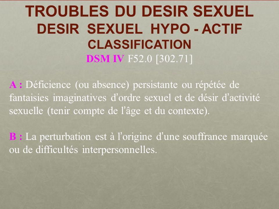 TROUBLES DU DESIR SEXUEL DESIR SEXUEL HYPO - ACTIF La symptomatologie clinique peut se résumer : -dun simple désintérêt sexuel Laversion à légard de la sexualité Laversion à légard de la sexualité