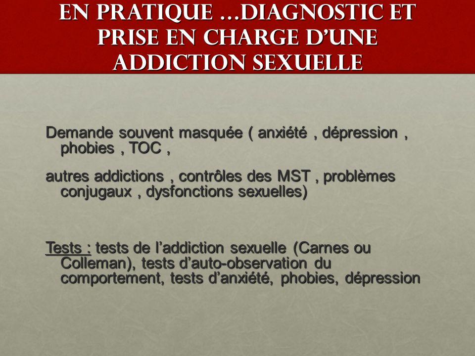 Addictions sexuelles : Au corps et à la sexualité ( avec comportement sexuel excessif ou anormal) A lautre ( partenaire fixe ou à la relation) Co morbidité élevée avec la prise de substances psycho actives Egalement retrouvé dans laccès maniaque en pathologie mentale